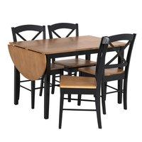 Matgrupp: Merida bord med 1 klaff - Svart / ek - 120 / 156 cm + stolar