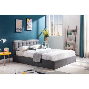 Malcom säng med förvaring 160x200 cm - Grå (Tyg)