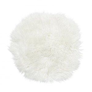 Frizzy rund stolsdyna - Vitt fårskinn thumbnail