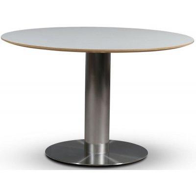 SOHO matbord Ø118 cm - Borstat aluminium / Perstorp vit HPL