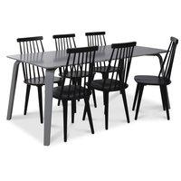 Visby matgrupp, 180 cm grått bord med 6 st svarta Dalsland pinnstolar