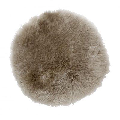 Gently rund stolsdyna - Beige fårskinn