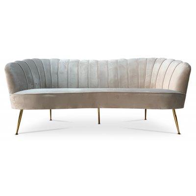 Snäckan 3-sits soffa - Gråbeige sammet / Mässing