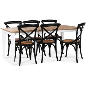 Dalarös matgrupp 180 cm bord vit/ek + 6 st svarta Gaston matstolar