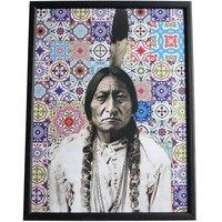 Tavla Sitting Bull - Mosaik/Svart ram