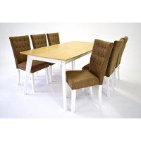 Sarek matgrupp - Bord inklusive 6 st Crocket stolar - Vit/ek
