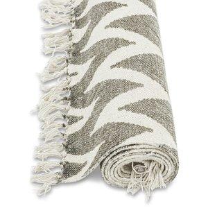 Stentvättad bomullsmatta zigzag - Koppargrå