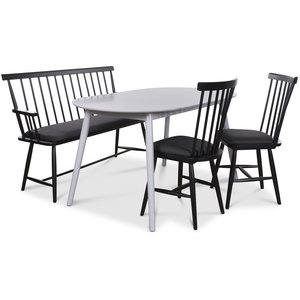 Småland matgrupp - Grått bord med 2 st Småland pinnstolar och 1 st Småland pinnsoffa - Grå / Svart