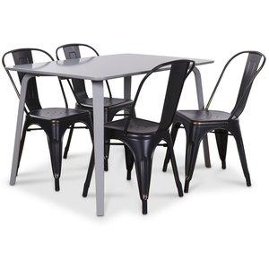 Visby matgrupp grått bord med 4 st Industry Plåtstolar - Grå / Svart Guld