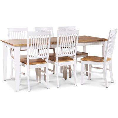 Dalarös matgrupp 180 cm bord vit/ek + 6 st Dalarös matstolar