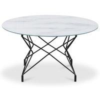 Soffbord Star 90 cm - Vitt marmorerat glas / Svart underrede