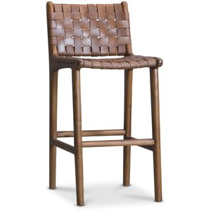 Porto barstol hög - Konjak / teak
