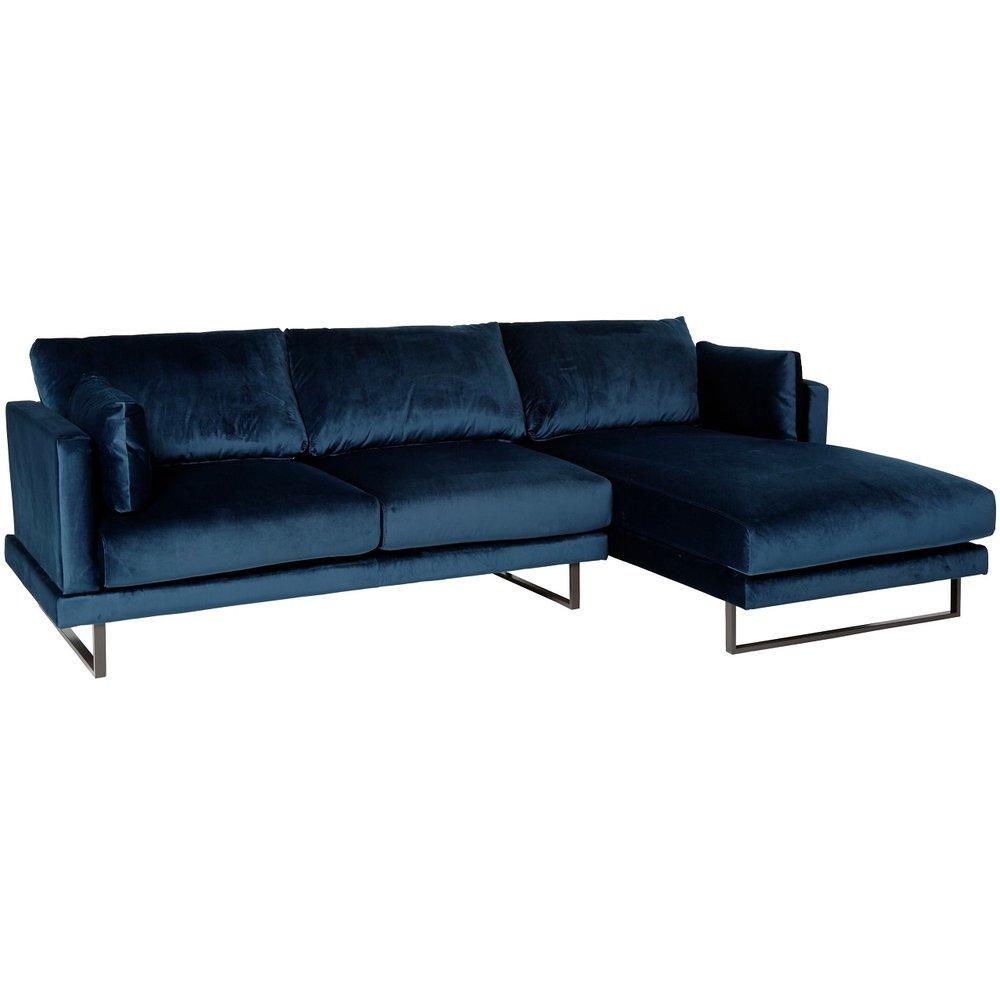 Helt nya Florance soffa med divan till höger - Mörkblå sammet - 10495 kr DO-14