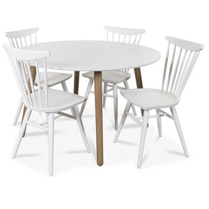 Rosvik matgrupp runt VitEk matbord med 4 st Thor pinnstolar VitEk