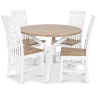 Skagen matgrupp - Runt bord inklusive 4 st Herrgård Vindö stolar med ekbetsad sits - Vit/Ekbets