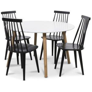 Rosvik matgrupp Runt bord vit/ek med 4 st svarta Dalsland pinnstolar
