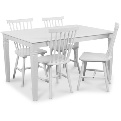 Mellby matgrupp 140 cm bord med 4 st Visby pinnstolar - Vit