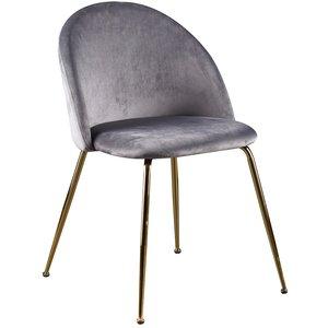 Art velvet stol - Ljusgrå / Mässing