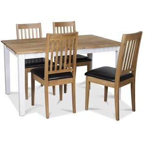Österlen matgrupp, Klassiskt 140 cm matbord i vit/ek med 4 st Simris matstolar med sits i PU