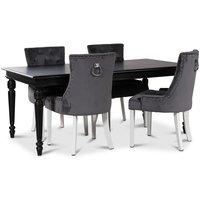 Paris matgrupp svart bord med 4 st Tuva stolar i grått sammet med vita ben och rygghandtag