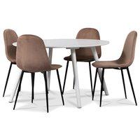 Rosvik matgrupp, matbord med 4 st Carisma sammetsstolar - Vit/Rosa