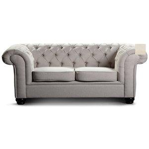 Chesterfield York 3-sits soffa - Ljusbeige sammet