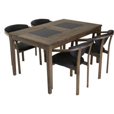 Habo matgrupp inkl. 4 st Holstebro stolar - Ek/granit