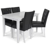 Sandhamn matgrupp 140 cm bord med 4 Crocket stolar i Svart PU