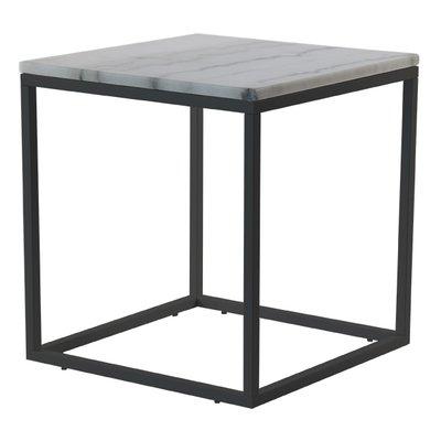 Accent lampbord 50x50 cm - Vit marmor / svart underrede