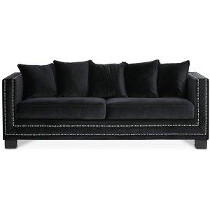Cloude 2-sits soffa med nitar - Svart (Sammet)