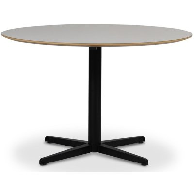 SOHO matbord Ø118 cm - Matt svart kryssfot / Perstorp vit HPL