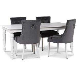 Paris matgrupp vitt bord med 4 st Tuva stolar i grå sammet med vita ben