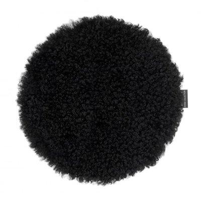 Curly stolsdyna fårskinn - Svart