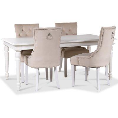 Paris matgrupp vitt bord med 4 st Tuva Decotique stolar i beige sammet med rygghandtag