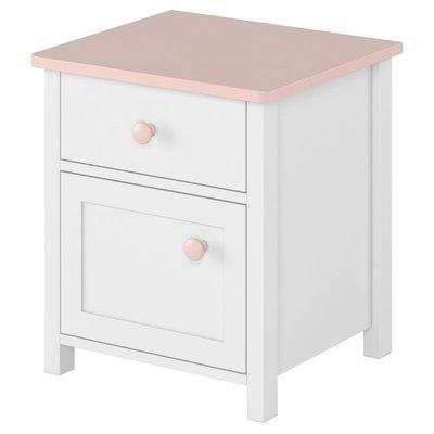 Stephany sängbord - Vit/rosa