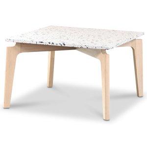 Terrazzo soffbord 75x75cm - Cosmos Terrazzo & underrede white washed oak