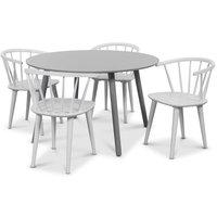 Rosvik matgrupp grått runt bord med 4 st vita Fredrik Pinnstolar