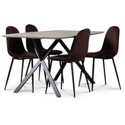 Smokey matgrupp, matbord med 4 st Carisma sammetsstolar - Bordeaux