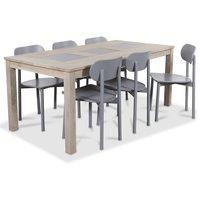 Jasmine matgrupp med bord i whitewash och 6 st gråa Alvaro matstol