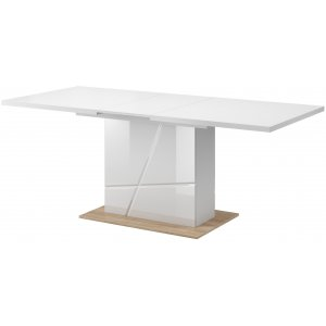 Villum matbord 160-200 cm - Vit(högglans) / riviera ek