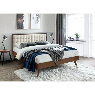 Florry säng - Valnöt/beige