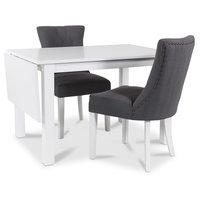Sander matgrupp Klaffbord + 2 st gråa Tuva stolar