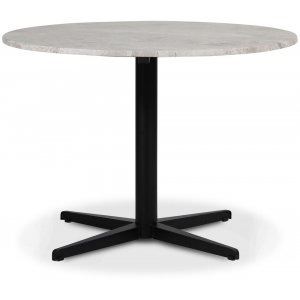 SOHO matbord Ø105 cm - Matt svart kryssfot / Silver marmor