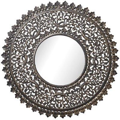 Carve rund spegel 115 cm - Antik träfärg