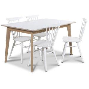 Holger matgrupp 140 cm bord med 4 st vita Thor pinnstolar