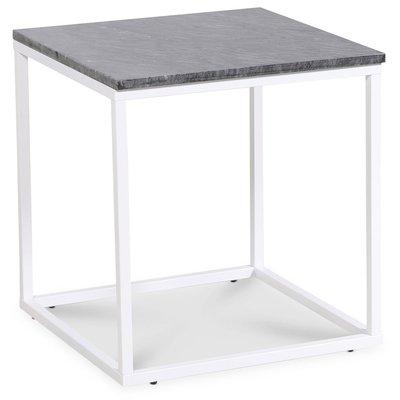 Accent lampbord 50x50 cm - Grå marmor / Vit