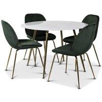 Art matgrupp: Runt bord marmor/Mässing + 4 st Deco stolar grön sammet / mässing