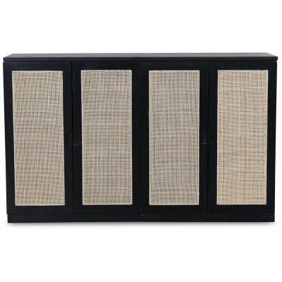 Level sideboard med dörrar i rotting B140 cm - Svart