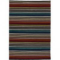 Handvävd matta - Rainbow - Svart