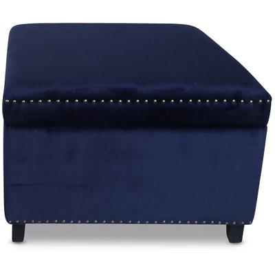 Birmingham 77x77 cm fotpall med förvaring - Mörkblå sammet / Nitar